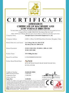 Osvedčenie CE o plniacom stroji
